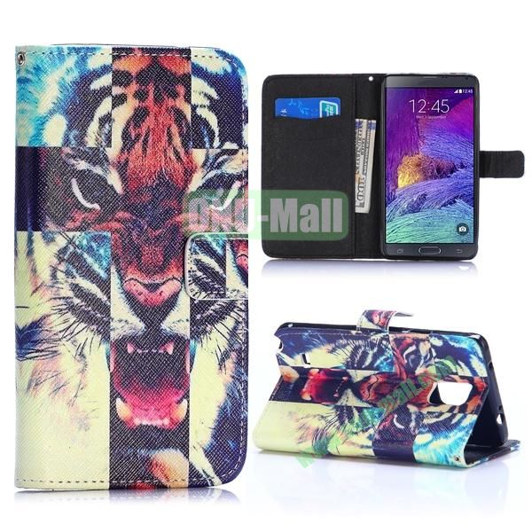 Special Pattern Wallet Style TPU and PU Leather Case for Samsung Galaxy Note 4 N910 (Angry Tiger)