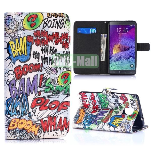 Special Pattern Wallet Style TPU and PU Leather Case for Samsung Galaxy Note 4 N910 (English Letters Graffiti)