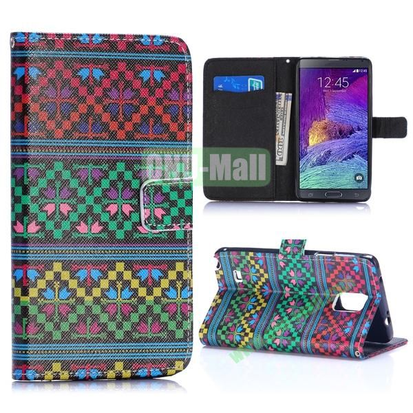 Special Pattern Wallet Style TPU and PU Leather Case for Samsung Galaxy Note 4 N910 (Tribal Pattern)