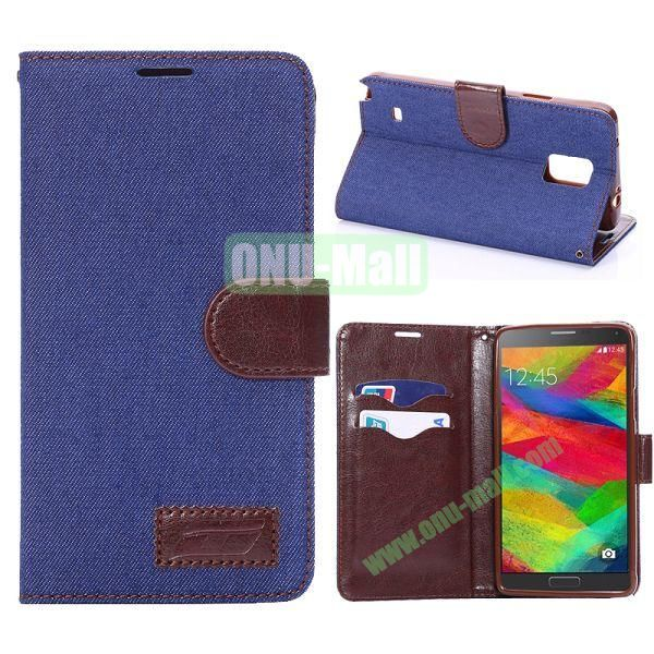 Jeans Cloth Texture Flip Stand TPU+PU Leather Case for Samsung Galaxy Note 4 N910 (Dark Blue)