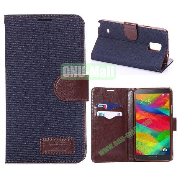 Jeans Cloth Texture Flip Stand TPU+PU Leather Case for Samsung Galaxy Note 4 N910 (Black)
