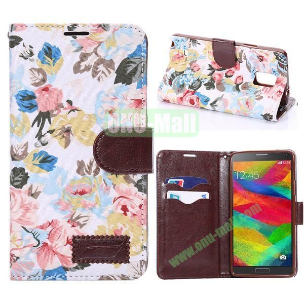 Cloth Texture Flowers Pattern Flip Stand TPU+PU Leather Case for Samsung Galaxy Note 4 N910 (White)