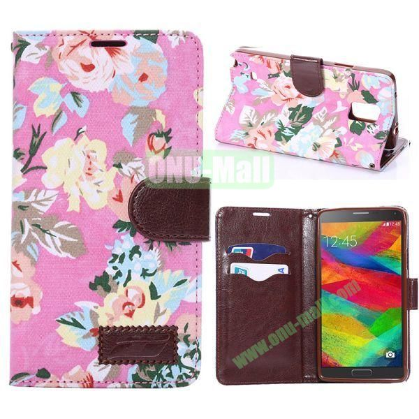 Cloth Texture Flowers Pattern Flip Stand TPU+PU Leather Case for Samsung Galaxy Note 4 N910 (Pink)