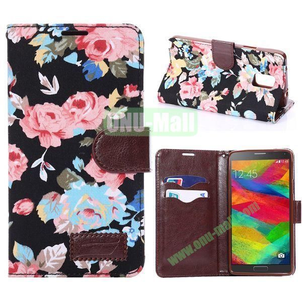 Cloth Texture Flowers Pattern Flip Stand TPU+PU Leather Case for Samsung Galaxy Note 4 N910 (Black)