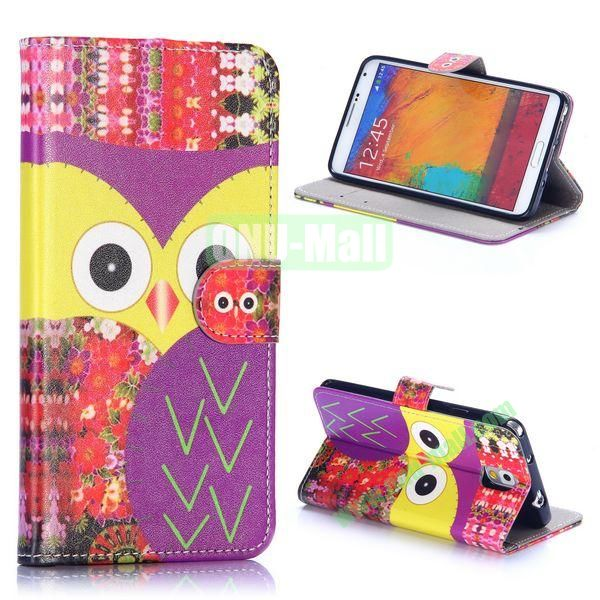 Owl Pattern Wallet Style PU Leather Case for Samsung Galaxy Note 3 N9000 (Owl & Flowers)