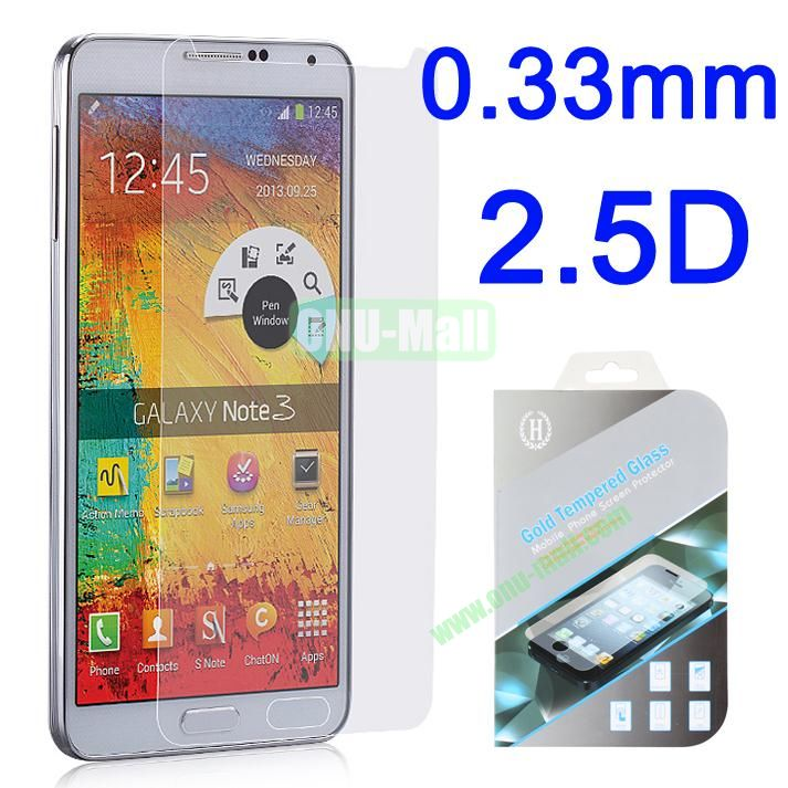 0.33mm 2.5D Gold Tempered Glass Screen Protector for Samsung Galaxy Note 3 N9000