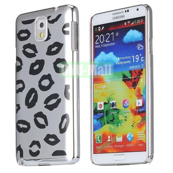 Sexy Lips Pattern Plastic Hard Case For Samsung Galaxy Note 3 N9000 (Black+Silver)