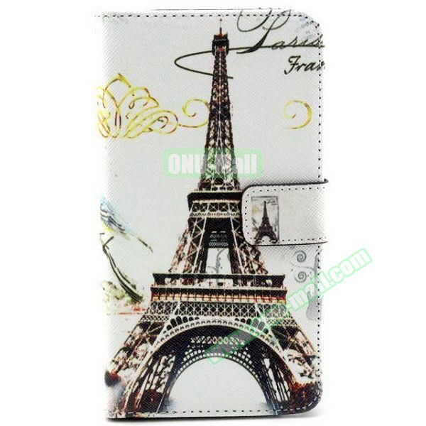Colored Pattern Wallet TPU and PU Leather Case for Samsung Galaxy Note 3 Lite (Eiffel Tower)