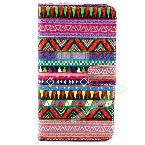 Colored Pattern Wallet TPU and PU Leather Case for Samsung Galaxy Note 3 Lite (Tribal)