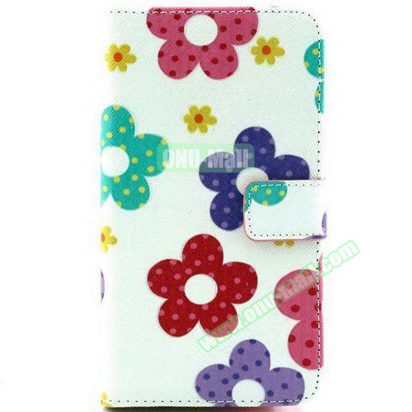 Colored Pattern Wallet TPU and PU Leather Case for Samsung Galaxy Note 3 Lite (Flowers)