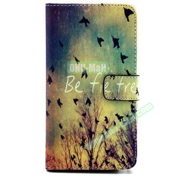 Colored Pattern Wallet TPU and PU Leather Case for Samsung Galaxy Note 3 Lite (Birds)