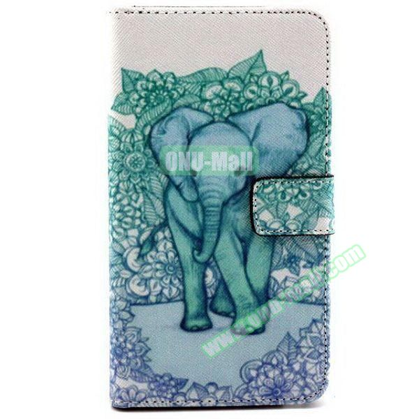 Colored Pattern Wallet TPU and PU Leather Case for Samsung Galaxy Note 3 Lite (Elephant)