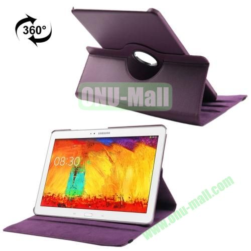 360 Rotating Litchi Texture Leather Smart Cover for Samsung Galaxy Note Pro 12.2 P900 with Stand (Purple)