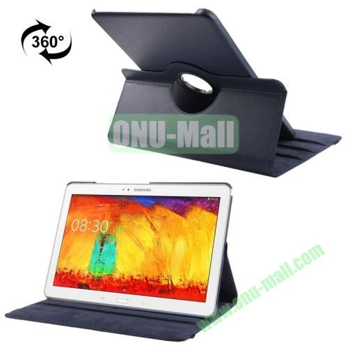 360 Rotating Litchi Texture Leather Smart Cover for Samsung Galaxy Note Pro 12.2 P900 with Stand (Dark Blue)