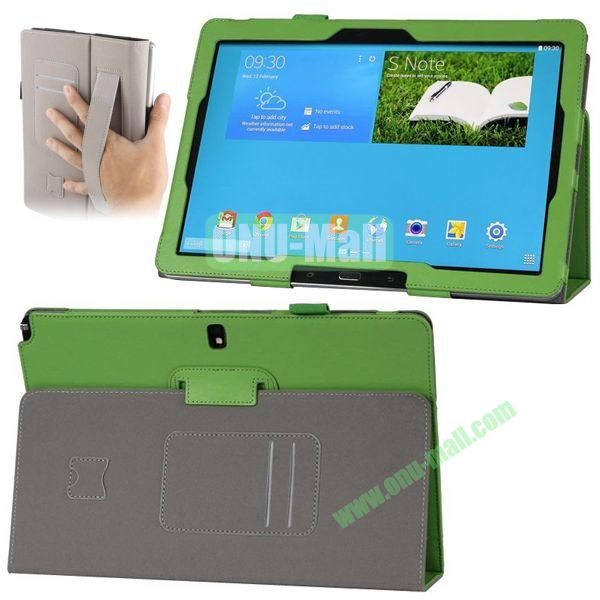Plain Texture Leather Smart Cover for Samsung Galaxy Note 12.2 P900 P901 with Armband and Card Slots (Green)