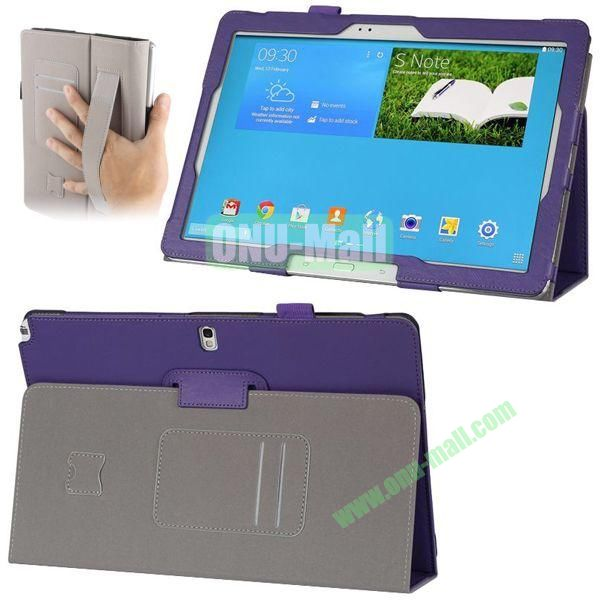 Plain Texture Leather Smart Cover for Samsung Galaxy Note 12.2 P900 P901 with Armband and Card Slots (Purple)