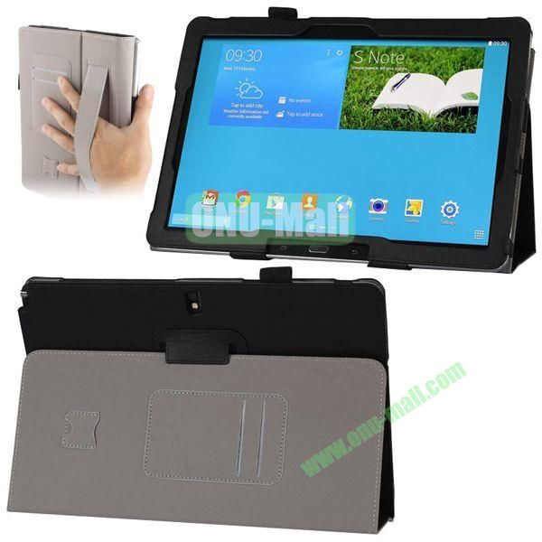 Plain Texture Leather Smart Cover for Samsung Galaxy Note 12.2 P900 P901 with Armband and Card Slots (Black)