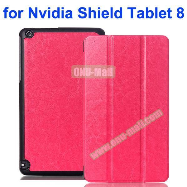 3 Folding Crazy Horse Pattern Leather Flip Cover for Nvidia Shield Tablet 8 (Rose)