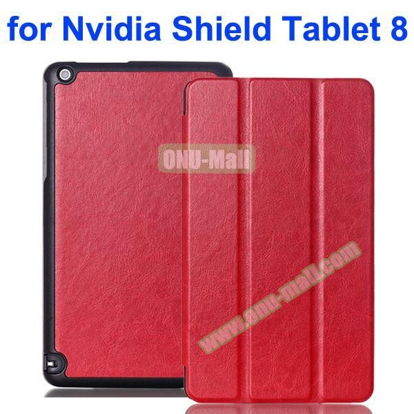 3 Folding Crazy Horse Pattern Leather Flip Cover for Nvidia Shield Tablet 8 (Red)