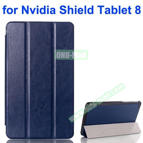 3 Folding Crazy Horse Pattern Leather Flip Cover for Nvidia Shield Tablet 8 (Dark Blue)