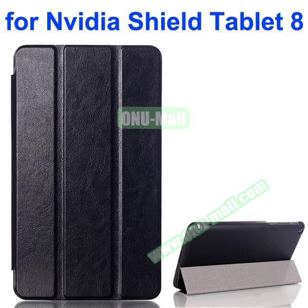 3 Folding Crazy Horse Pattern Leather Flip Cover for Nvidia Shield Tablet 8 (Black)