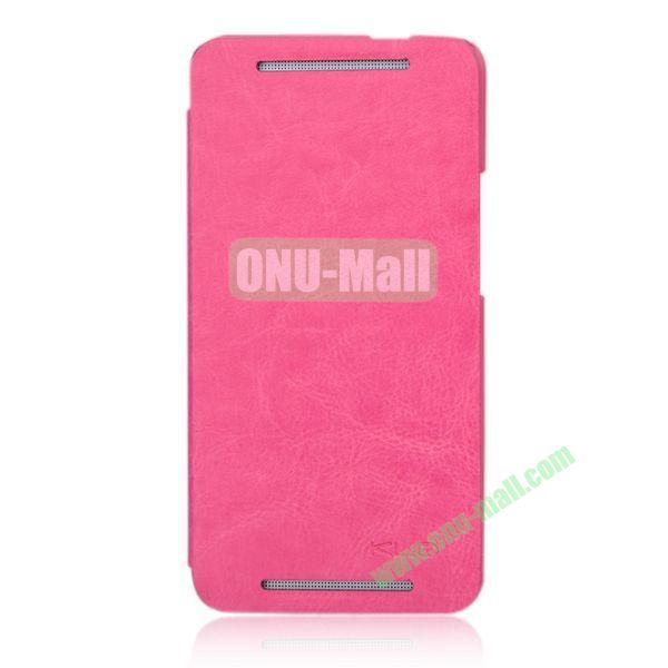 KLD England Series Flip Crazy Horse Texture Leather Case for HTC One M7  801e (Rose)