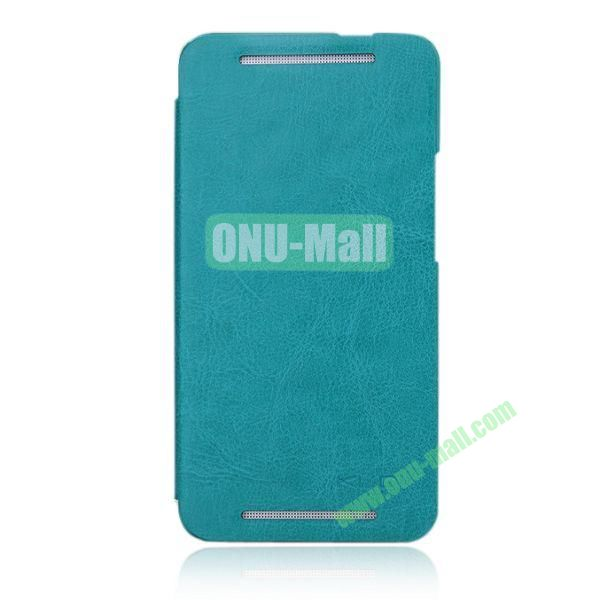 KLD England Series Flip Crazy Horse Texture Leather Case for HTC One M7  801e (Cyan)