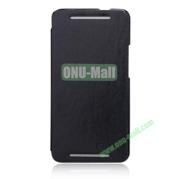 KLD England Series Flip Crazy Horse Texture Leather Case for HTC One M7  801e (Black)
