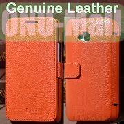 K-cool Litchi Texture Magnetic Flip Genuine Leather Case for HTC One M7  801e with Card Slots (Orange)
