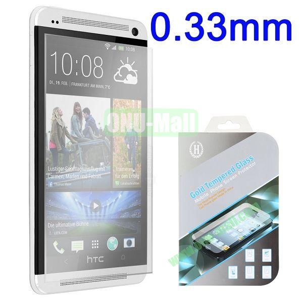 2.5 Degree Arc Incision 0.33mm Gold Tempered Glass Explosion-proof Anti-Fingerprint Screen Protector for HTC One M7