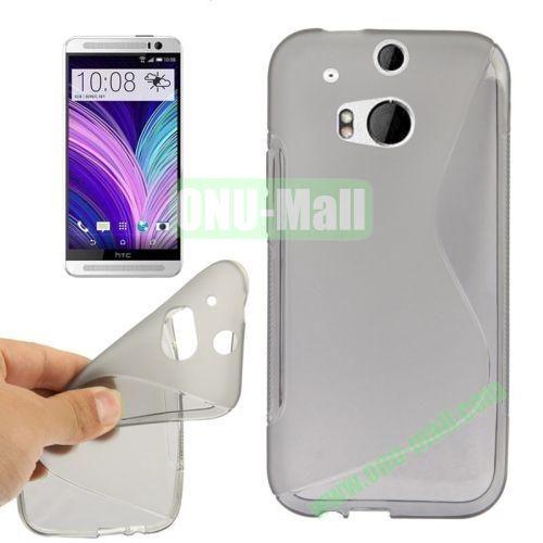 S-Shape Line Anti Slide Soft TPU Case for HTC One 2  M8 (Grey)