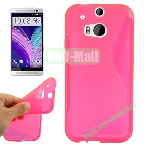 S-Shape Line Anti Slide Soft TPU Case for HTC One 2  M8 (Pink)