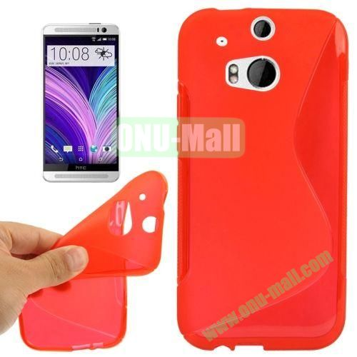S-Shape Line Anti Slide Soft TPU Case for HTC One 2  M8 (Red)