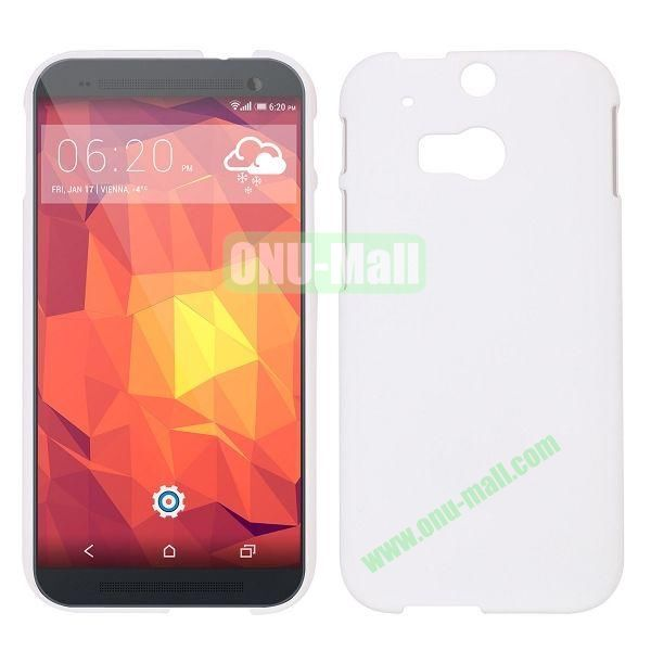 Simple Solid Color Rubber Coated Hard Case for HTC One 2  M8 (White)