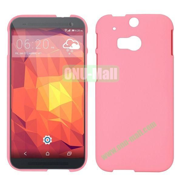 Simple Solid Color Rubber Coated Hard Case for HTC One 2  M8 (Pink)
