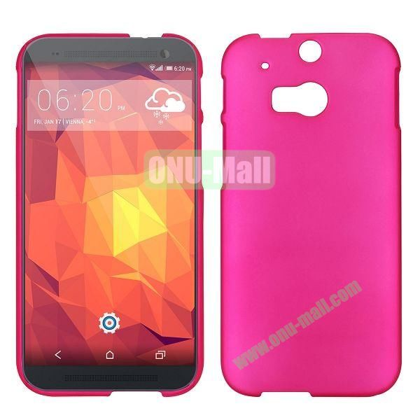 Simple Solid Color Rubber Coated Hard Case for HTC One 2  M8 (Rose)