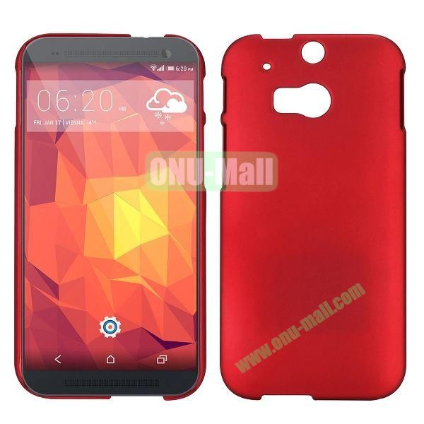 Simple Solid Color Rubber Coated Hard Case for HTC One 2  M8 (Red)