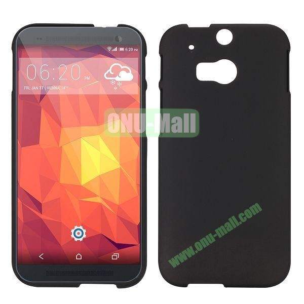 Simple Solid Color Rubber Coated Hard Case for HTC One 2  M8 (Black)