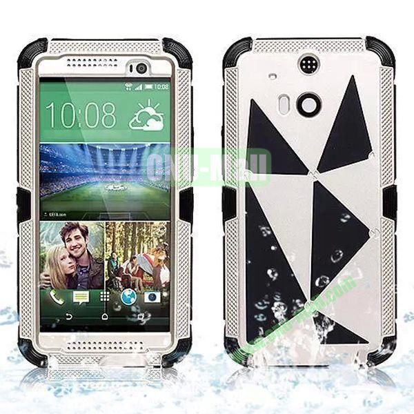 Hot Sale High Quality Waterproof Case  for HTC One M8 One 2 (White+Gold)
