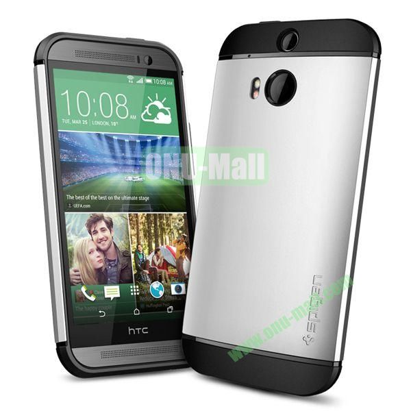 Slim Armor 2 in 1 Style Hard Case for HTC One M8  One 2 (Silver)