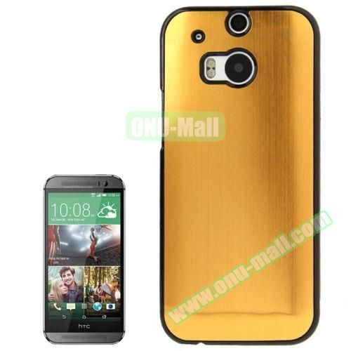 Brush Texture Plastic Hard Case for HTC One M8 (Yellow)