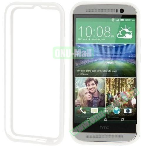 Soft TPU and Transparent Plastic Bumper Frame Case for HTC One M8 (White)