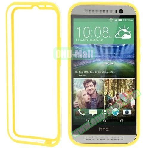 Soft TPU and Transparent Plastic Bumper Frame Case for HTC One M8 (Yellow)