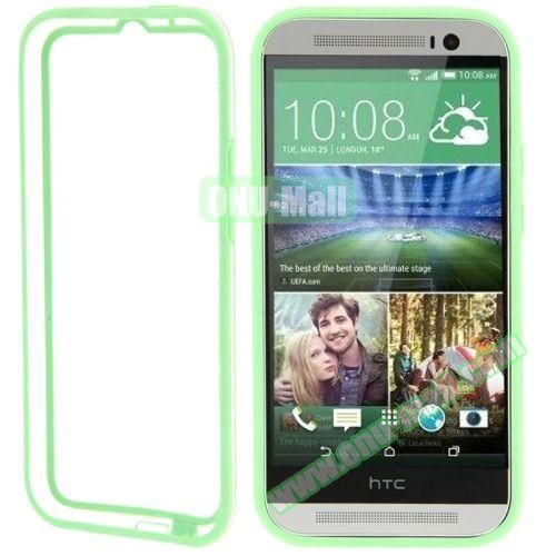 Soft TPU and Transparent Plastic Bumper Frame Case for HTC One M8 (Green)