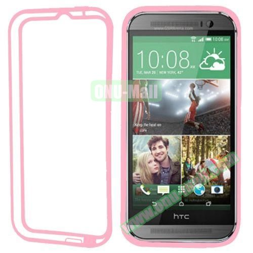 Soft TPU and Transparent Plastic Bumper Frame Case for HTC One M8 (Pink)