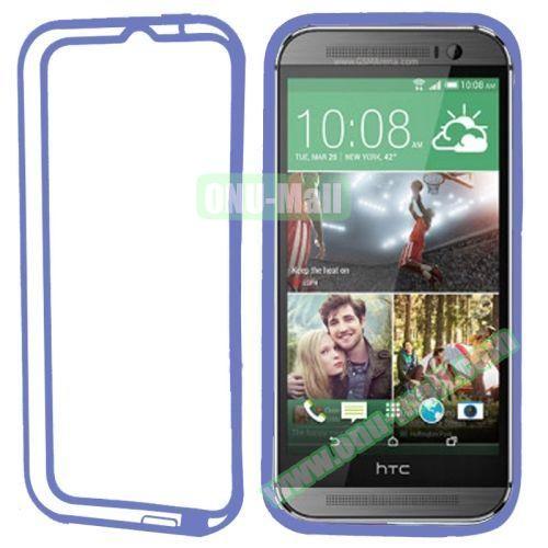 Soft TPU and Transparent Plastic Bumper Frame Case for HTC One M8 (Blue)