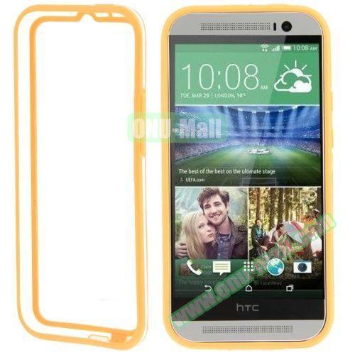 Soft TPU and Transparent Plastic Bumper Frame Case for HTC One M8 (Orange)