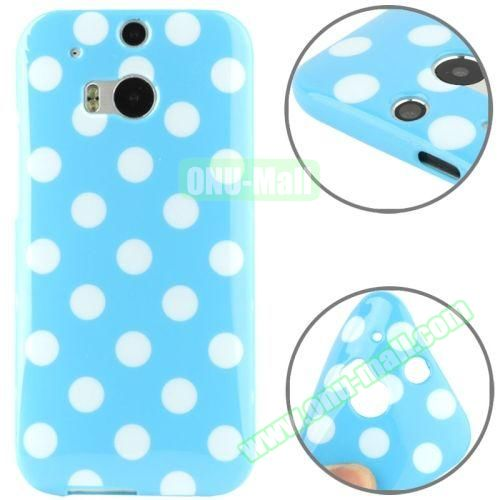 Polka Dot Pattern Smooth Soft TPU Case for HTC One M8 (Blue+White)