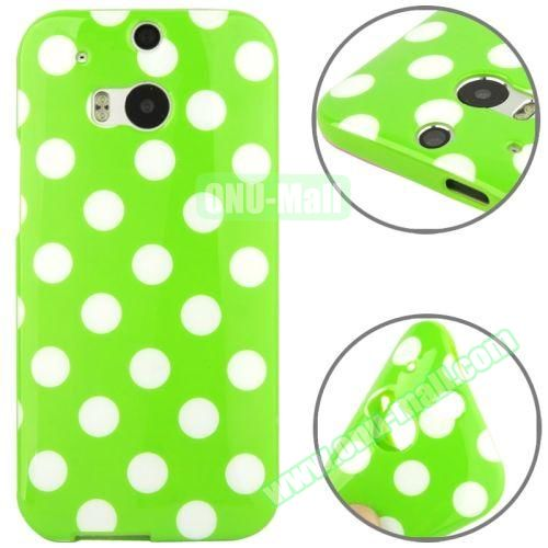 Polka Dot Pattern Smooth Soft TPU Case for HTC One M8 (Green+White)