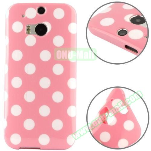 Polka Dot Pattern Smooth Soft TPU Case for HTC One M8 (Pink+White)